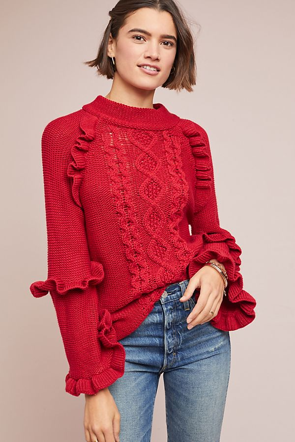 0cc952b4ca1 Ruffled Cable-Knit Sweater
