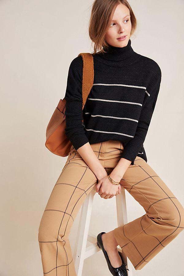 Slide View: 1: Rachelle Striped Turtleneck Sweater