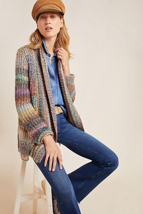 Slide View: 1: Rainbow-Stitched Cardigan