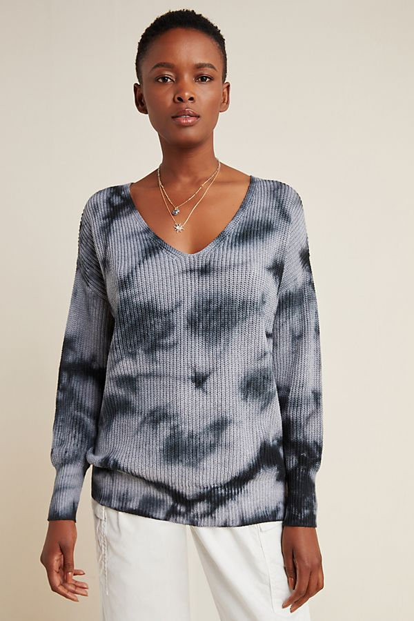 Slide View: 1: Gracie Tie-Dyed V-Neck Sweater