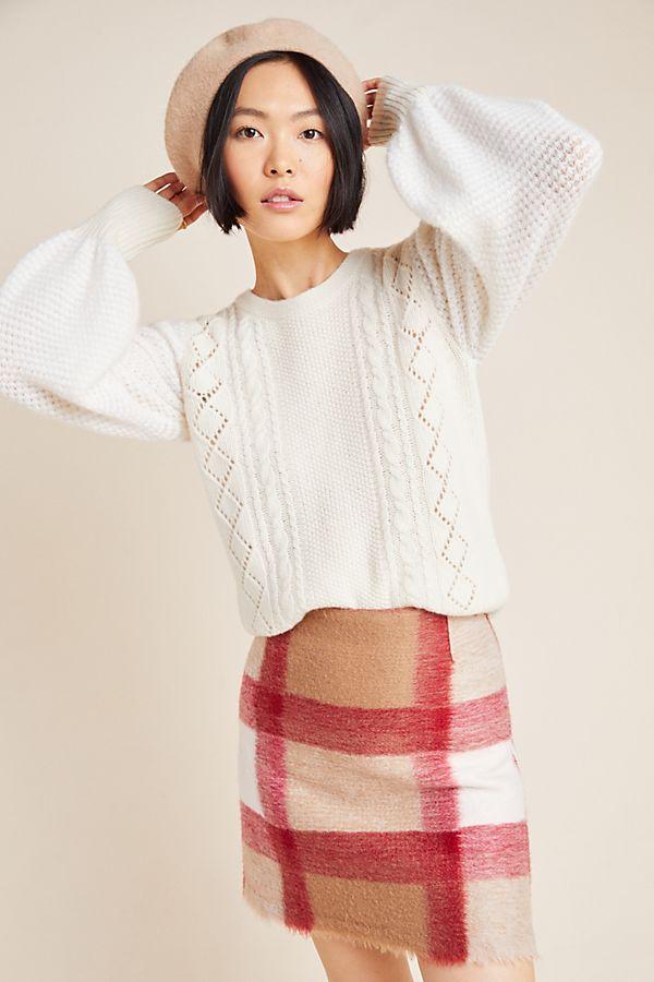 Slide View: 1: Elizabeth Pointelle Wool Sweater