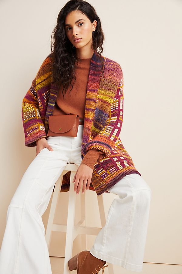 Slide View: 1: Tavia Longline Knit Cardigan