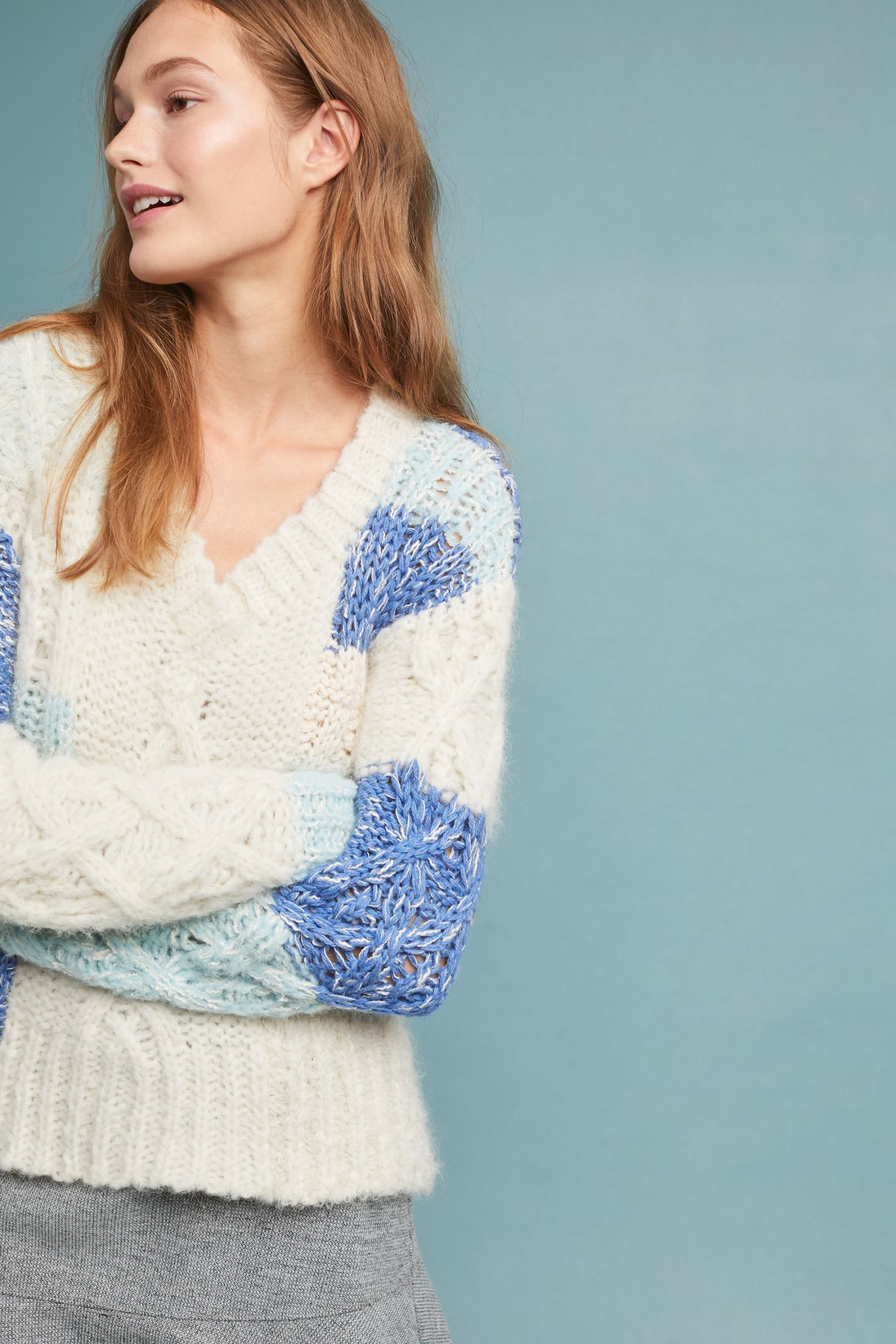 e2bef54a9eb Patchwork Cable-Knit Sweater | Anthropologie