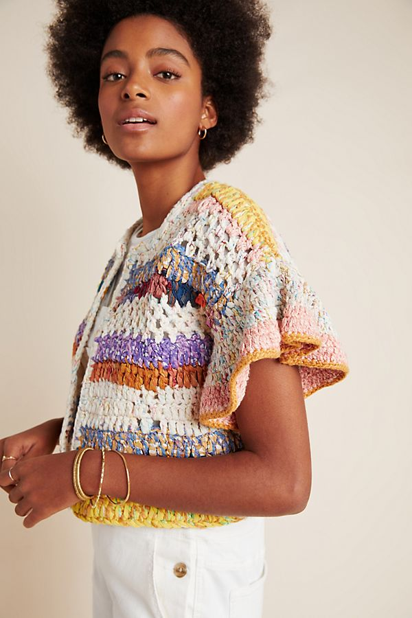 Slide View: 1: Mia Hand-Knit Cropped Cardigan