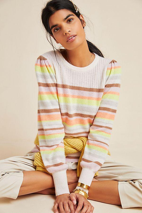 Slide View: 1: White + Warren Rainbow-Striped Cashmere Sweater