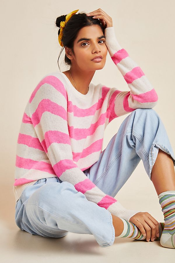 Slide View: 1: White + Warren Neon-Striped Cashmere Sweater