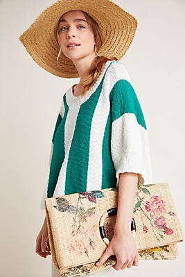 Slide View: 1: Edgley Striped Knit Poncho