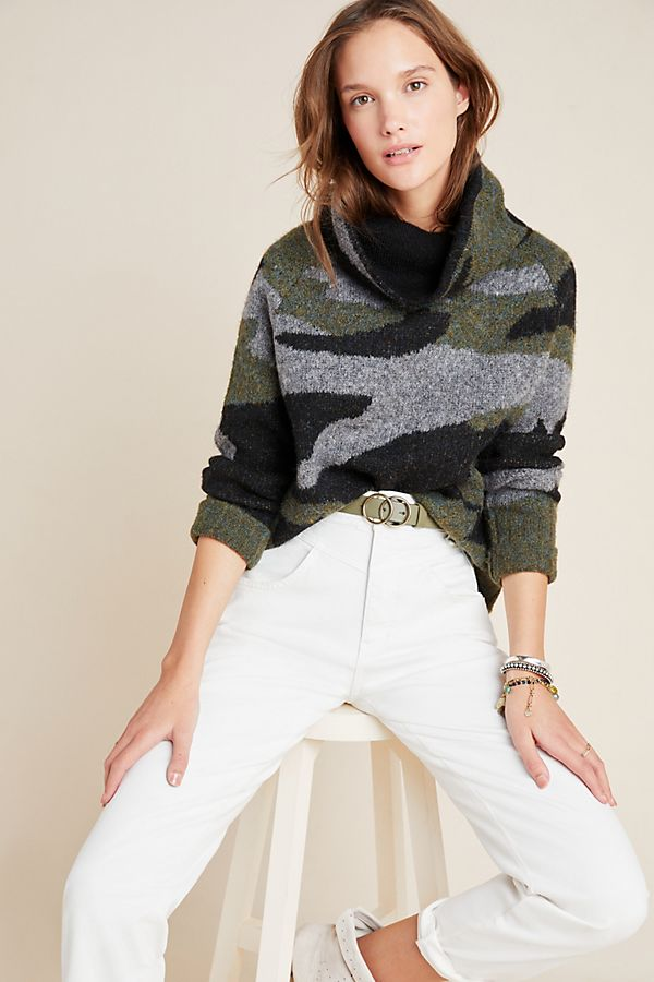 Slide View: 1: Cobie Funnel Neck Camo Sweater
