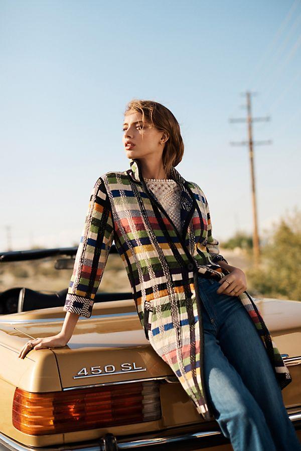 Slide View: 2: Shanley Plaid Wool Sweater Coat