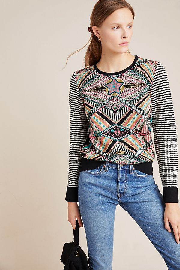 Slide View: 1: Teodora Abstract Sweater