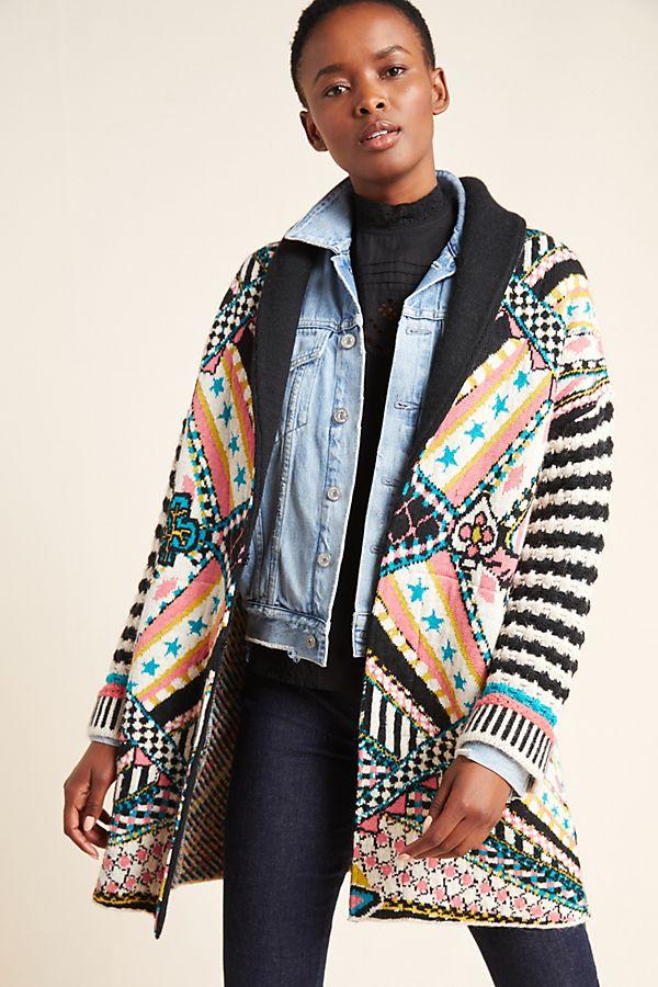 Slide View: 1: Josefana Jacquard Sweater Coat