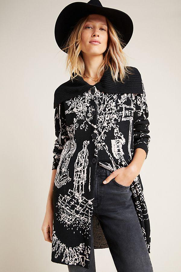 Slide View: 1: London Jacquard Sweater Coat