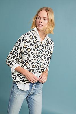 Slide View: 1: Leopard Cashmere Pullover