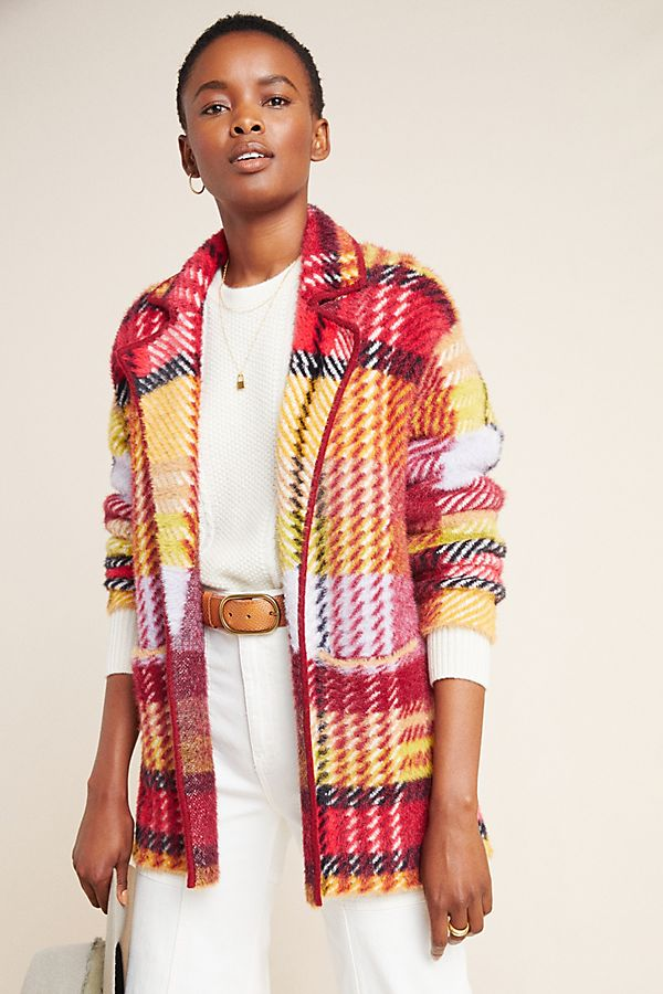 Slide View: 1: Oracia Plaid Sweater Coat