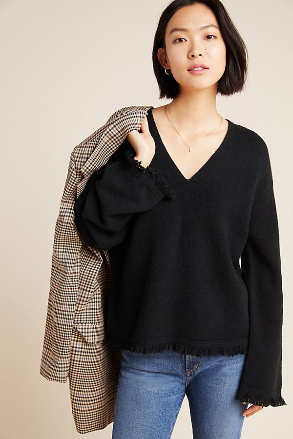 Slide View: 1: Joy Fringed V-Neck Sweater