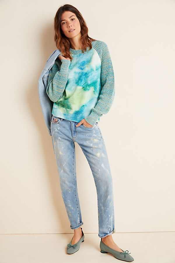 Slide View: 1: Watercolor Tie-Dyed Sweater
