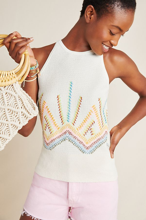 Slide View: 1: Sunrise Embroidered Sweater Tank