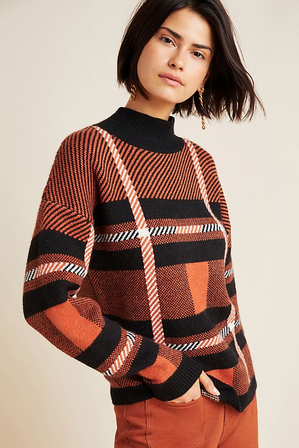 Slide View: 1: Davina Plaid Turtleneck Sweater