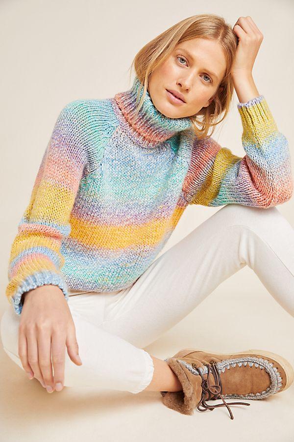 Slide View: 1: Rainbow Turtleneck Sweater