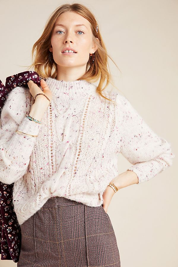 Slide View: 1: Rebecca Taylor Cable-Knit Sweater