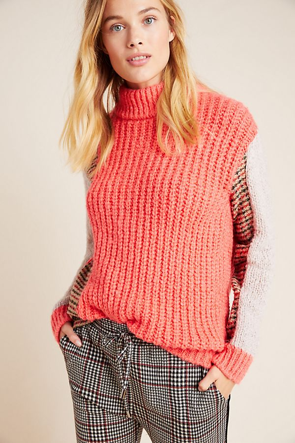 Slide View: 1: Tweed Colorblocked Turtleneck Sweater