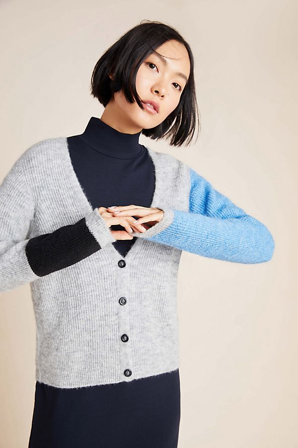 Slide View: 1: Denise Ribbed Colorblocked Cardigan