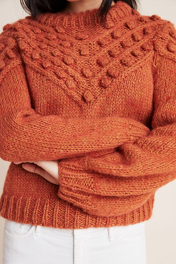Slide View: 2: Frida Pommed Hand-Knit Pullover