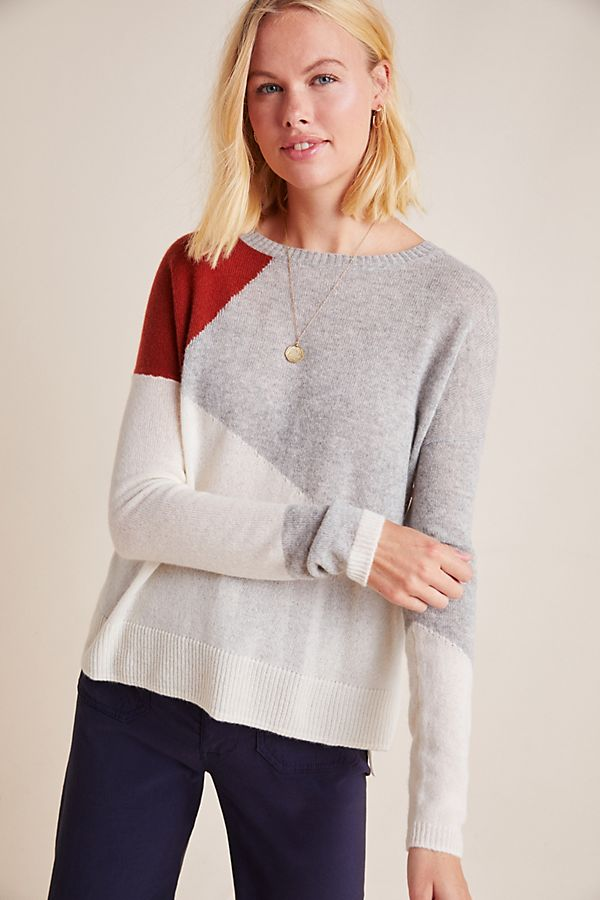 Slide View: 1: Sima Colorblocked Cashmere Sweater