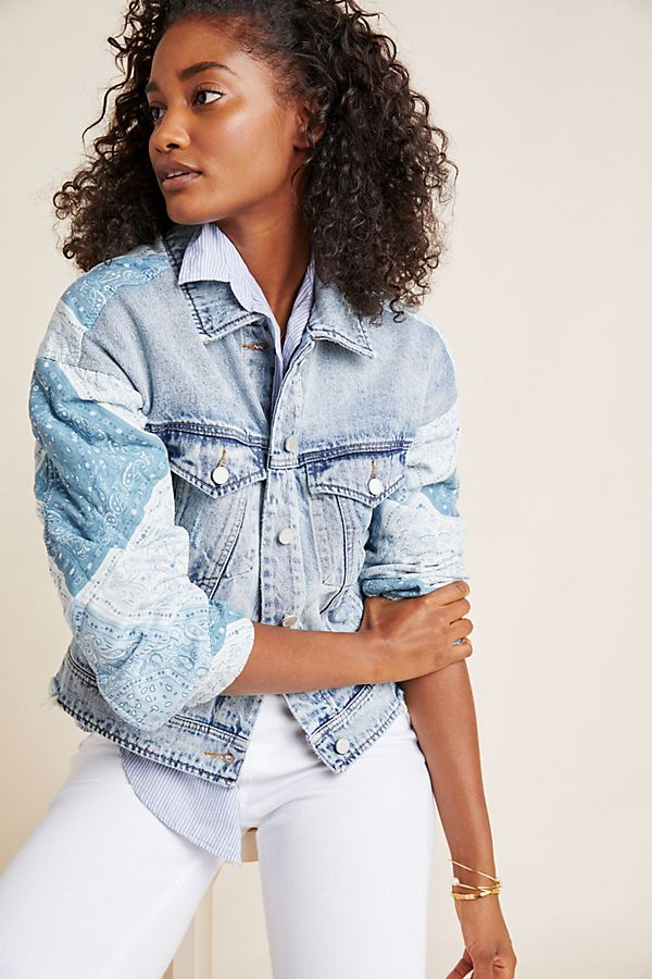 Slide View: 1: Patchwork Denim Jacket