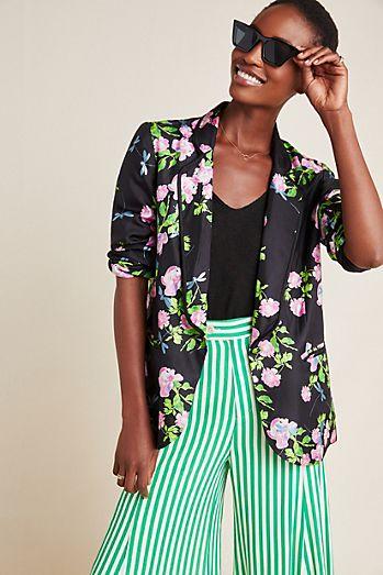 072e9ecc49 Cynthia Rowley Floral Silk Blazer