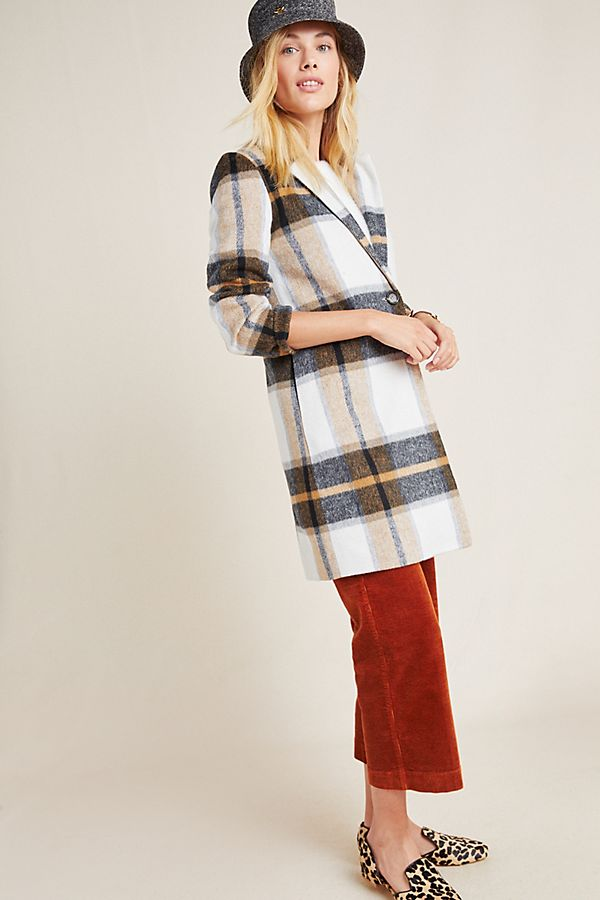 Slide View: 1: Emilie Plaid Blazer Coat