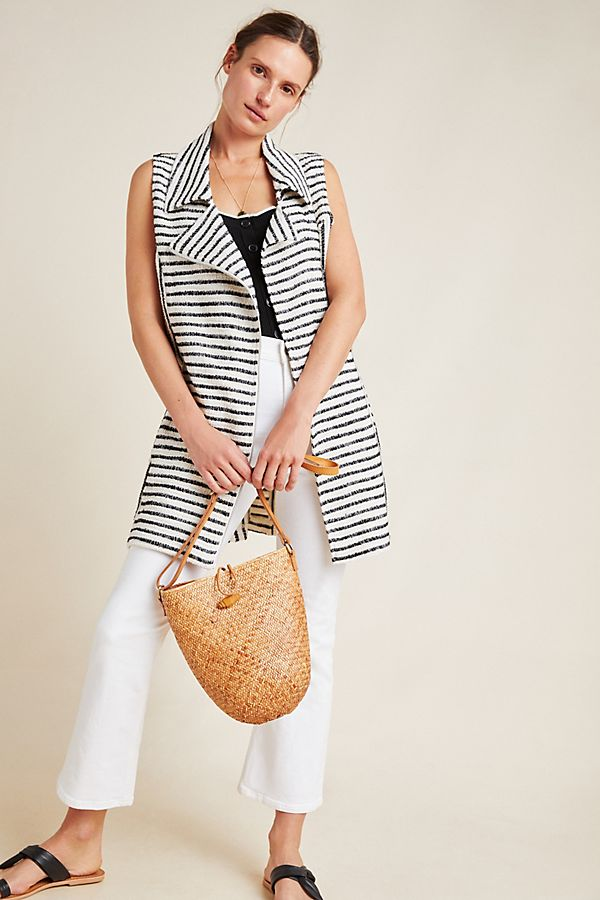 Slide View: 1: Ellis Striped Moto Vest