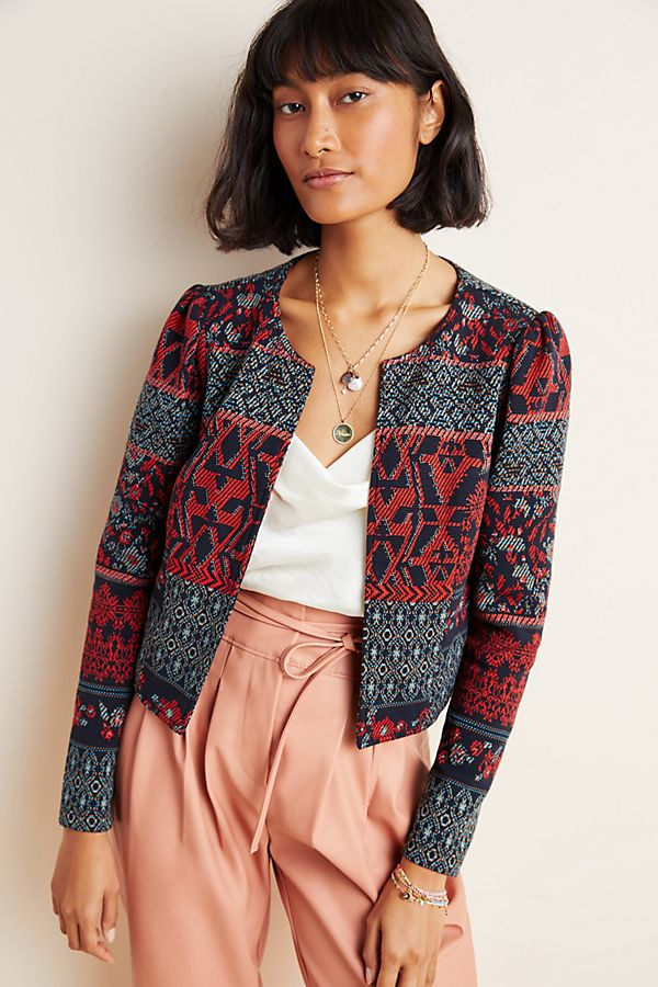 Slide View: 1: DOLAN Collection Abstract Knit Jacket