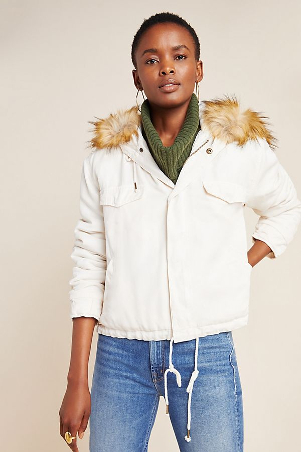 Slide View: 1: Weller Faux Fur-Trimmed Utility Jacket