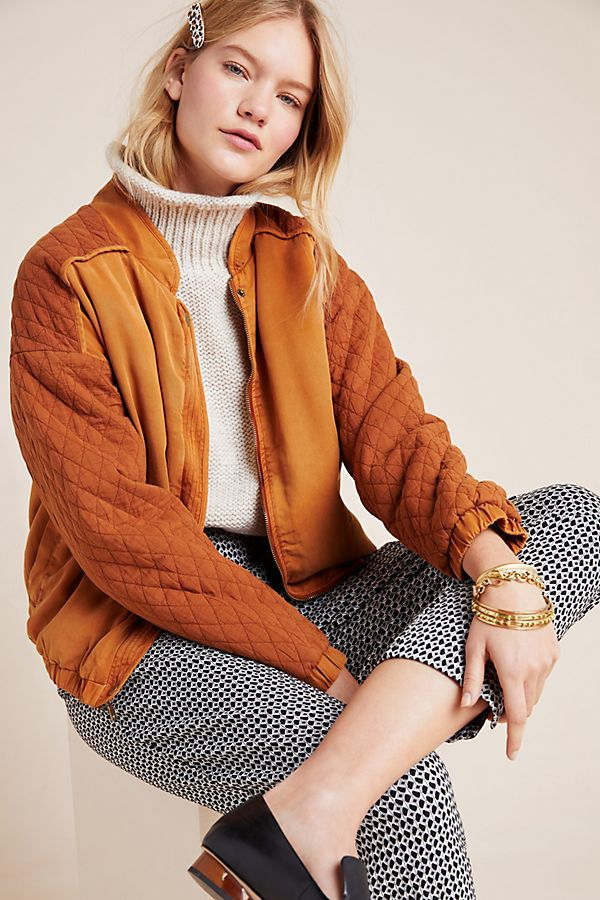Slide View: 1: Marigold Quilted Bomber Jacket