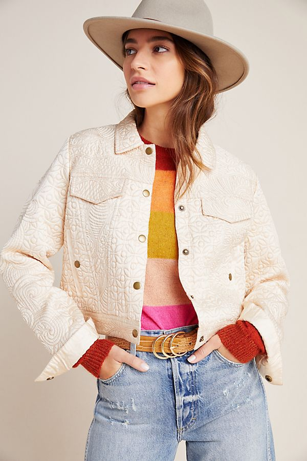 Slide View: 1: Federica Quilted Trucker Jacket