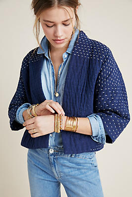 Slide View: 1: Quilted + Stitched Jacket