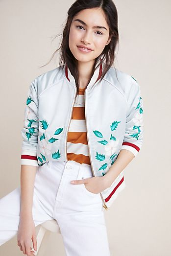 157e2773875b83 Antik Batik Embroidered Bomber Jacket