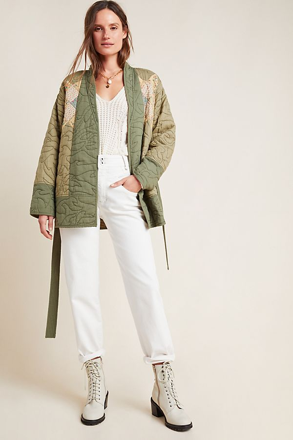 Slide View: 1: Quilted Patchwork Kimono