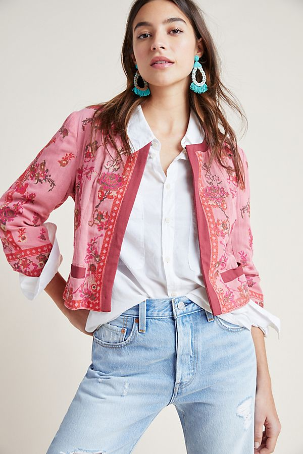 Slide View: 1: Evanio Rose Embroidered Jacket