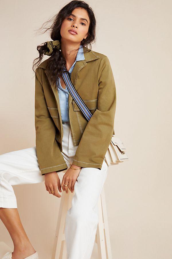 Slide View: 1: Olivia Contrast-Stitch Utility Jacket