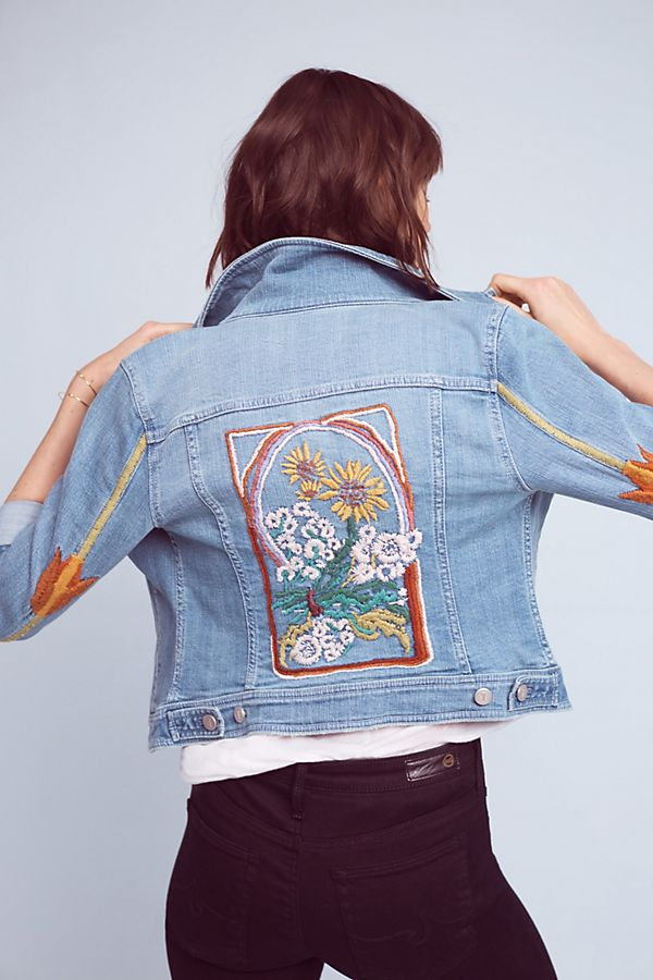01b84b781f Pilcro Embroidered Denim Jacket