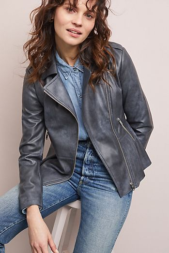 6139be38891 Peplum Faux Leather Moto Jacket