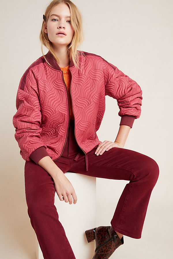 Slide View: 1: Vicenta Quilted Bomber Jacket