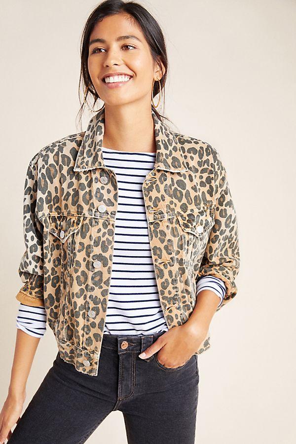 Slide View: 1: AMO Lulu Leopard Denim Jacket