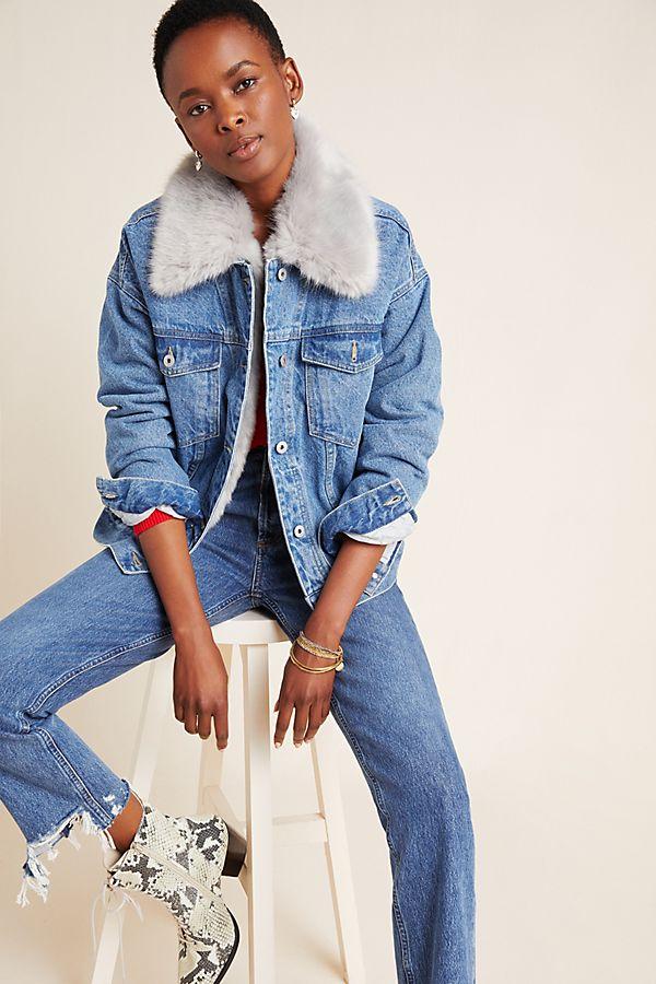 Slide View: 1: Pilcro Faux Fur Collar Denim Jacket