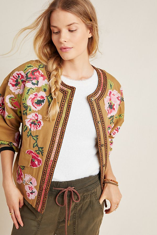 Slide View: 1: Needlepoint Bomber Jacket