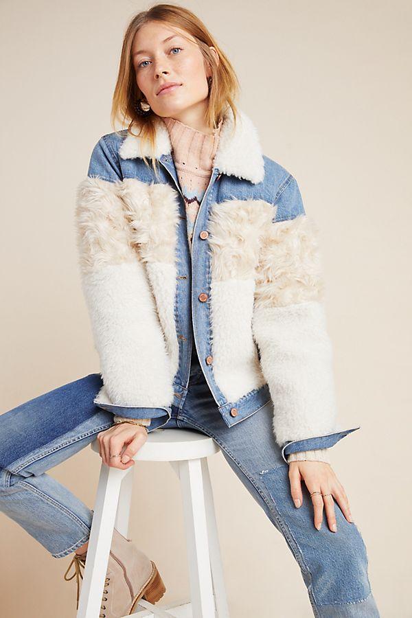 Slide View: 1: Rebecca Taylor Faux Fur-Trimmed Denim Jacket