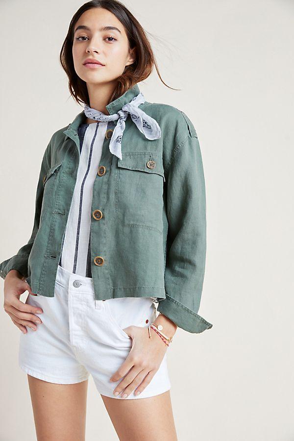 Slide View: 1: Honor Linen Utility Jacket