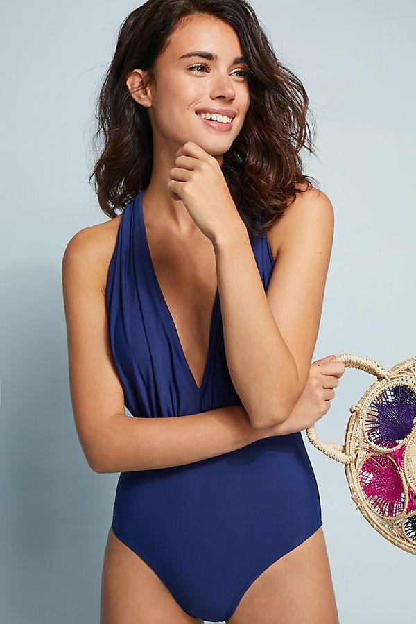 Slide View: 1: Anthropologie Plunge One-Piece Swimsuit